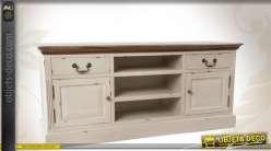 meuble tv couleur cr me effet vieilli. Black Bedroom Furniture Sets. Home Design Ideas