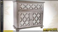 Commode tiroir avec 2 portes en bois et miroir style for Miroir ethnique