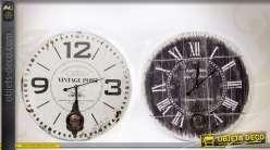 Deux horloges de style rétro et vintage noir et blanc Ø 58 cm