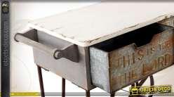 console chariot industriel et ancien en m tal avec 2 tiroirs. Black Bedroom Furniture Sets. Home Design Ideas