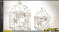 Cages oiseaux d coratives carr es blanc antique for Cages a oiseaux decoratives