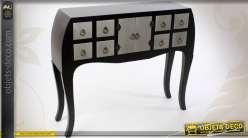 Console à 8 tiroirs et 2 portes noir et argent de style japonais