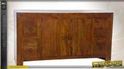 Bahut en sheesham en bois massif 2 portes et 4 tiroirs