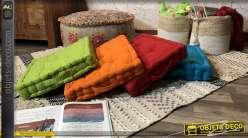 Série de 4 coussins de sol ou habillage de banquette en palette, colorés et résistants avec grandes poignées, 40x40cm
