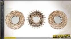 Série de 3 miroirs décoratifs muraux ronds finition dorée Ø 25 cm