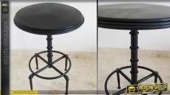 Table ronde haute bois et métal industriel coloris noir antique