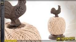 Support en fonte avec bobine de ficelle motif coq