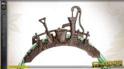 Support en fonte pour tuyau d'arrosage motifs outils de jardin
