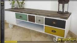 Meuble TV de style rétro et industriel finition multicolore