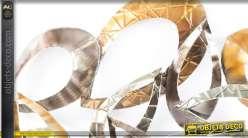 D coration murale abstraite argent e et dor e for Decoration murale doree