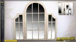 Miroir fenêtre à trois volets de style rétro effet vieilli 121 cm
