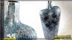 Vase style mosaïque précieuse en céramique et verre 52 cm