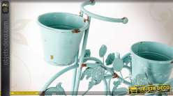 tricycle porte fleurs style r tro patine turquoise antique 43 cm. Black Bedroom Furniture Sets. Home Design Ideas