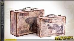 s rie de deux valises d coratives anciennes en bois et similicuir. Black Bedroom Furniture Sets. Home Design Ideas