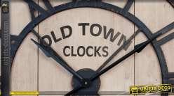 Horloge géante en bois et métal style fer forgé noir Ø 90 cm