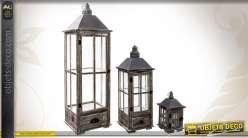 Ensemble de 3 lanternes en bois et métal coloris gris antique