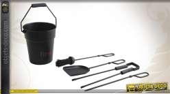 Seau à cendre avec 4 accessoires de cheminée patine noir mat