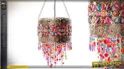 Suspension cylindrique style indien métal cuivré pampilles multicolores Ø 37 cm
