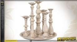Plateau à chandeliers baroque coloris crème antique 7 supports