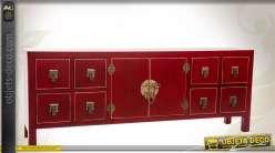 Meuble TV japonais coloris rouge et doré 8 tiroirs et 2 portes