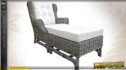 Pouf en poelet gris / repose pieds de fauteuil avec coussin