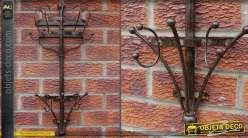 Porte-manteaux mural en métal style rétro finition marron