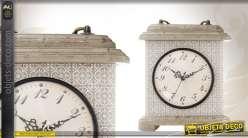Horloge de table en bois coloris gris