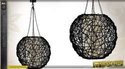 Suspension boule en rotin coloris noir  Ø 45 cm