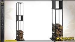 Grand rack à bûches en métal coloris gris
