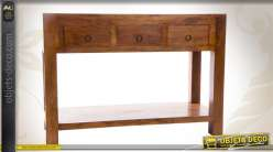 Console en bois massif de sheesham avec 3 tiroirs