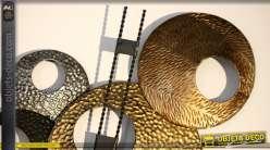 Grande décoration murale métal style abstrait effets de textures