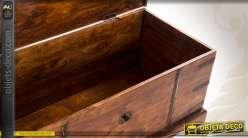 Coffre de style rustique et ancien en sheesham massif (30 kg)