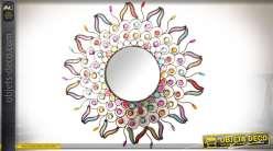 Miroir mural de style indien en métal et cabochons acryliques colorés Ø 50 cm