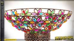 Centre de table oriental en métal cuivré ajouré à motifs floraux multicolores Ø 42 cm
