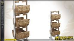 Meuble de rangement en bois avec corbeilles en jacinthe