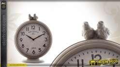 Horloge de table ronde avec oiseaux