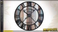 Grande horloge murale ronde en métal