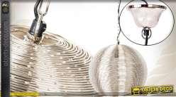 Suspension argentée fils de métal