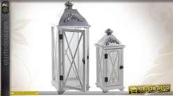 Série de 2 lanternes en bois coloris blanc