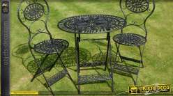 Salon de jardin table ronde et chaises pliantes for Salon fer forge catalogue