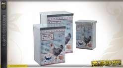 Série de 3 boîtes motifs campagnards