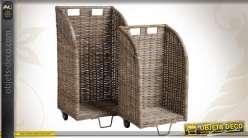 Série de 2 chariots à bûches en poelet gris
