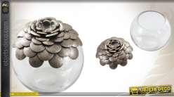 Pot décoratif en verre et métal patiné
