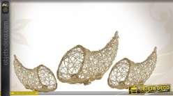 Série de 3 cornes d'abondance décoratives en rotin doré