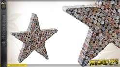 Déco étoile en papier recyclé et médium