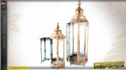 2 grandes lanternes rétro en métal finition dorée (74,5 cm)