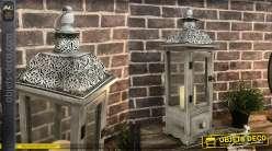 Lanterne décorative en bois et métal 59 cm coloris gris patiné