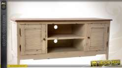 meuble tv style cottage r tro 2 portes et 2 niches centrales. Black Bedroom Furniture Sets. Home Design Ideas