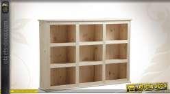 Etagère en bois finition brut à 9 casiers