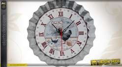 Horloge acier galvanisé rétro effet capsule style campagne